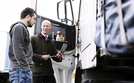 Angus Webb with truck driver