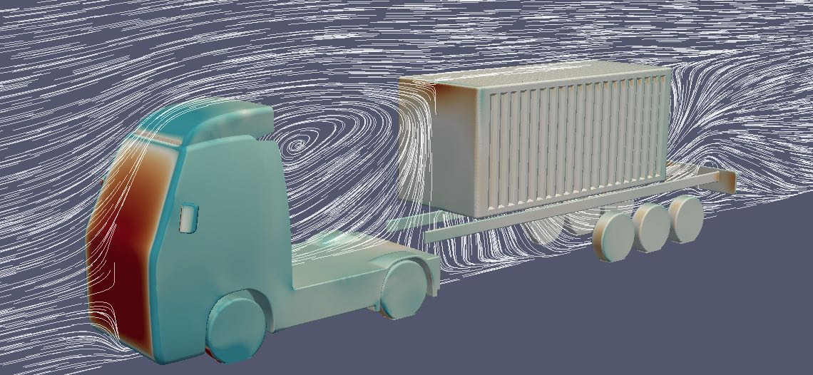 container-haulage-fuel-consuption-aerodynamics - simulation