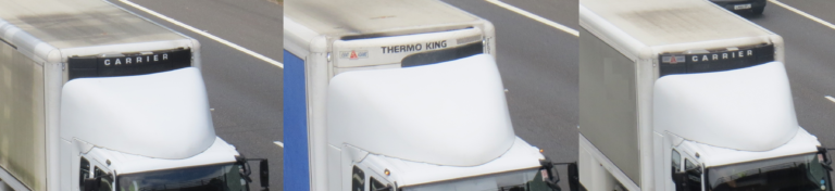 Vehicles fitted with well-designed roof spoilers that do not match well with the trailer.